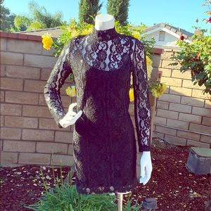 Cocktail lace black dress by Honey Punch